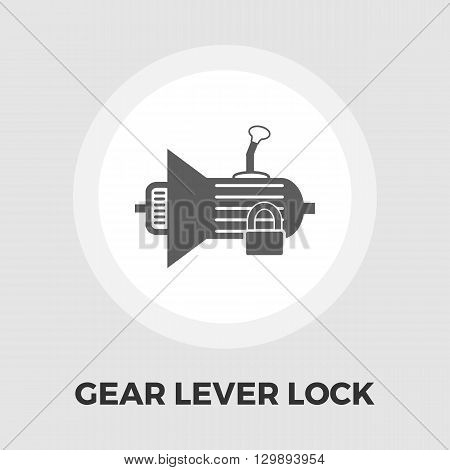 Gear lever lock icon vector. Flat icon isolated on the white background. Editable EPS file. Vector illustration.