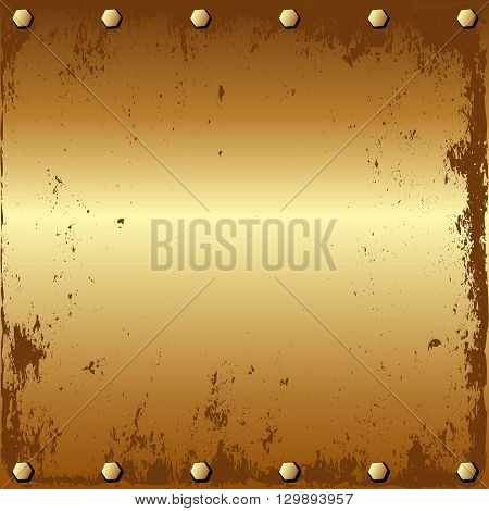 grunge golden background with bolts - vector illustration