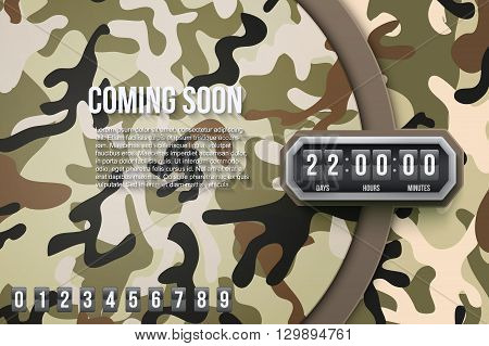 Creative Military Camouflage Background Coming Soon and countdown timer with digit samples. Vector Illustration.