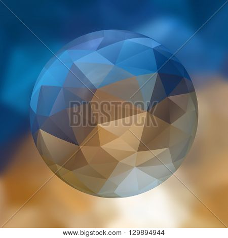 glass sphere with polygon pattern on blurred background - blue and beige colored