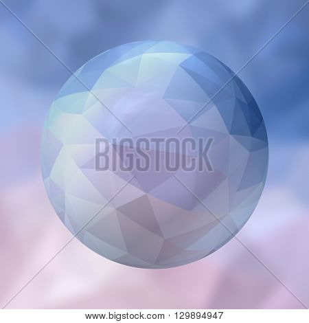 glass sphere with polygon pattern on blurred background - blue and pink colored