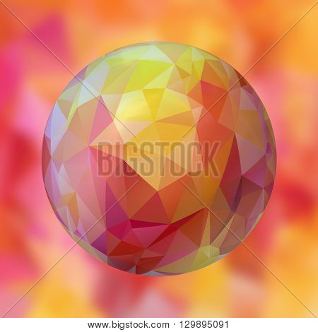 glass sphere with polygon pattern on blurred background - pastel pink orange and yellow colored