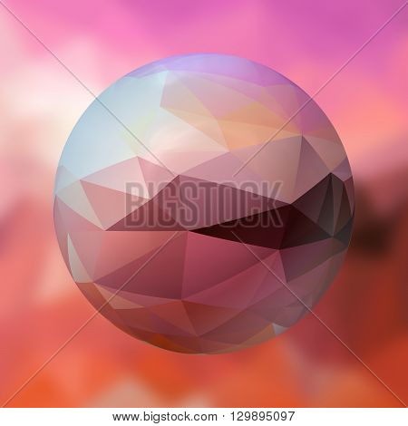 glass sphere with polygon pattern on blurred background - pink and orange colored