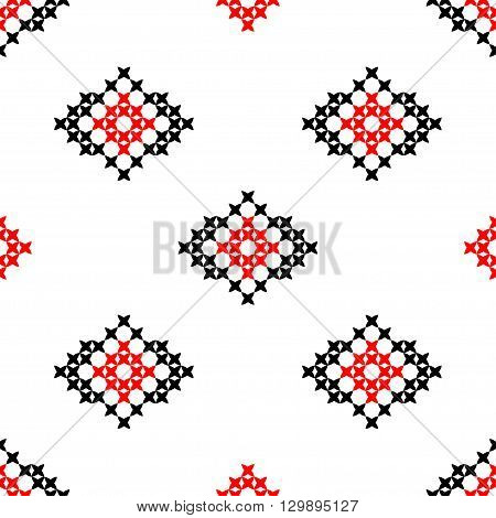 Seamless texture with red and black abstract patterns for cloth. Embroidery. Cross stitch