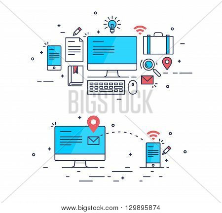 Abstract line art mail sending composition. Computer and smartphone receiving message. Abstract line art design gadgets and equipment. Business concept image. Business concept design. Business vector.