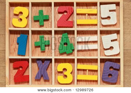 game for junior age with colored wooden numbers arithmetic operations