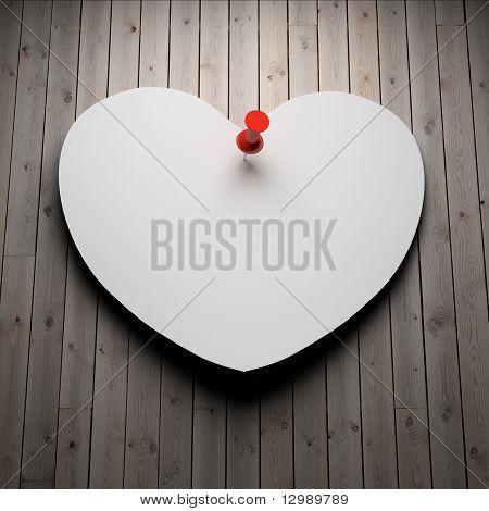 Blank Paper Heart On Wood