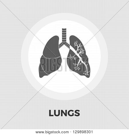 Lungs icon vector. Flat icon isolated on the white background. Editable EPS file. Vector illustration.