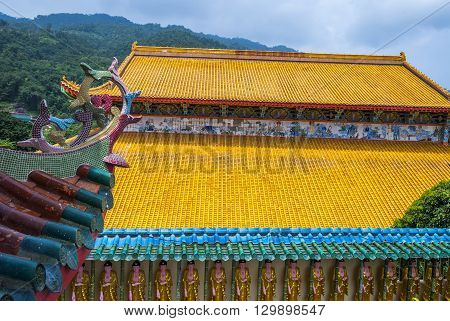 Close Up Of Yellow Roof At Kek Lok Si Temple