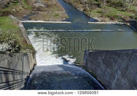 Beauty view of spillway in the dam Pancharevo, Bulgaria
