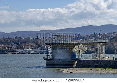 Concrete tower - equipment of picturesque  dam, gather water of Iskar river, Pancharevo, Bulgaria