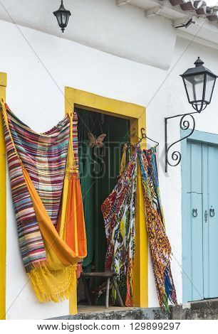 Hammocks, Market Place In The Old Town Of Paraty, Rio De Janeiro, Brazil