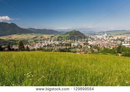 View of the cityscape of Ruzomberok from the mountain Malino Brdo in Slovakia on June 4 2015