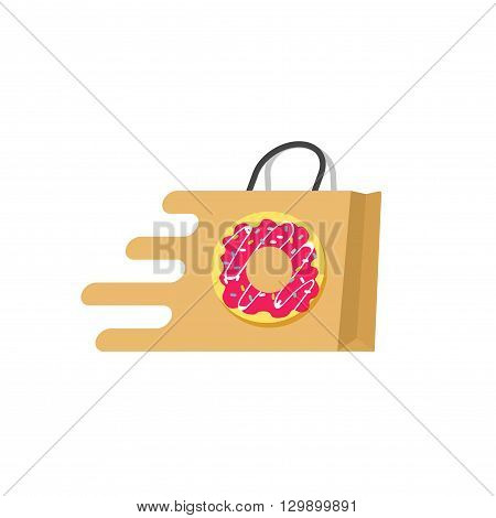 Food delivery vector logo isolated on white background, concept of food ordering online service, supermarket logotype, transportation of food, paper bag with sweet donut flat cartoon design