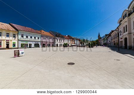 DOLNY KUBIN SLOVAKIA - JUNE 5 2015: Exterior view of the buildings in the city centre of Dolny Kubin Slovakia on June 5 2015. It is the historical capital of the Orava region.