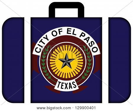 Flag Of El Paso, Texas. Suitcase Icon, Travel And Transportation Concept