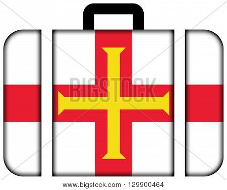 Flag Of Guernsey. Suitcase Icon, Travel And Transportation Concept