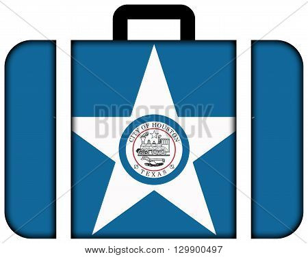 Flag Of Houston, Texas. Suitcase Icon, Travel And Transportation Concept