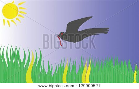 Vector image a Bird bring worm in the mouth