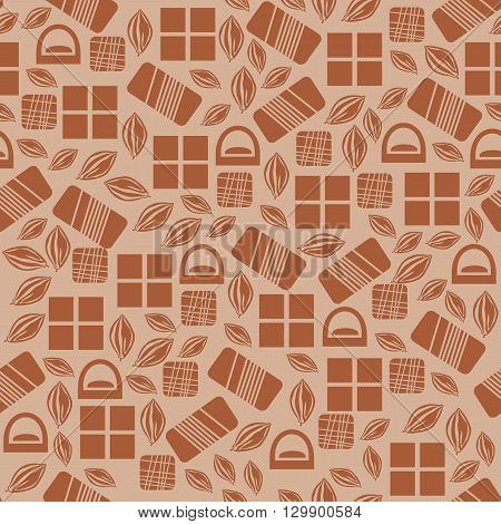 Seamless pattern with chocolate sweets isolated on white background. Assortment of chocolate items. Various tasty gourmet products. Can be used for wallpaper and wrapping paper. Mix.