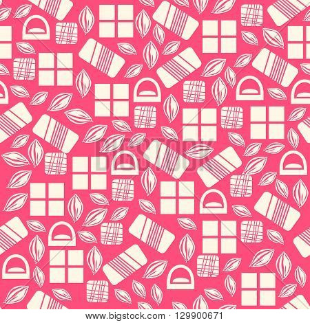 Seamless pattern with chocolate sweets isolated on pink background. Assortment of chocolate items. Various tasty gourmet products. Can be used for wallpaper and wrapping paper. Mix.