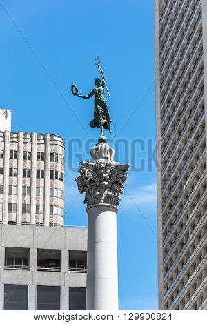 San Francisco,California,USA - June 30, 2015 : The Victory statue atop the Dewey monument