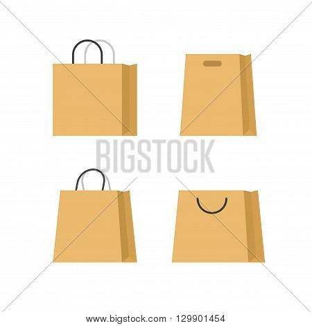 Shopping bags paper vector set isolated on white background, flat paper bag with handle cartoon simple illustration design