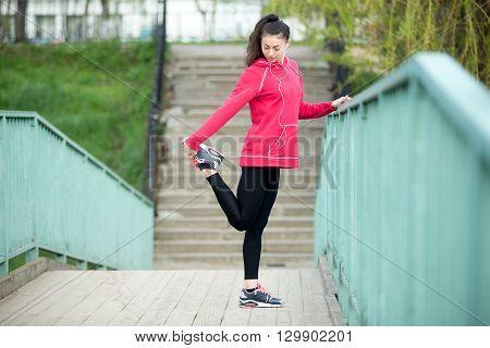Fitness Woman Preparing For Running
