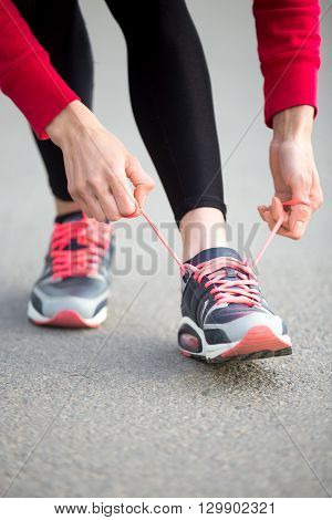 Jogger Preparing For Running Practice. Close-up