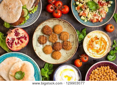 Table Served With Middle Eastern Traditional Dishes