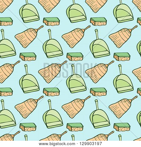 Cleaning tools sketch. Seamless pattern with hand-drawn cartoon icons - sponge,  brush, dustpan. Doodle drawing. Vector illustration - swatch inside