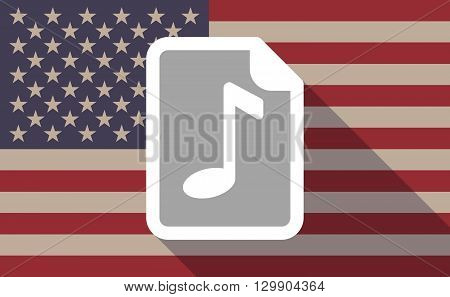Long Shadow Usa Flag Icon With   A Music Score Icon