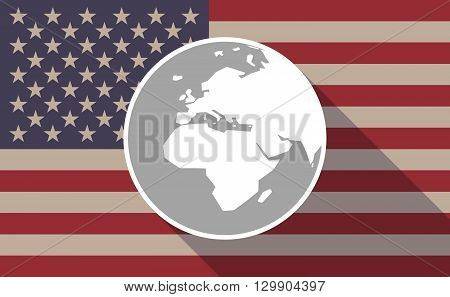 Long Shadow Usa Flag Icon With   An Asia, Africa And Europe Regions World Globe