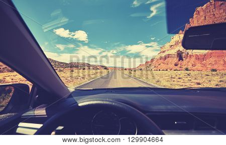 Vintage Toned Photo Of Road From Car Front Seat.