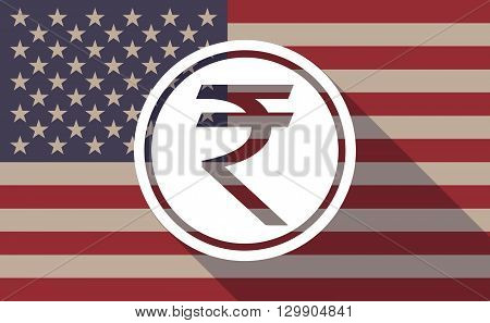 Long Shadow Usa Flag Icon With  A Rupee Coin Icon
