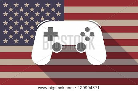 Long Shadow Usa Flag Icon With  A Game Pad