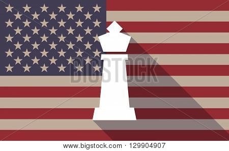 Long Shadow Usa Flag Icon With  A  King   Chess Figure