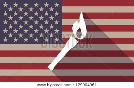 Long Shadow Usa Flag Icon With   A Torch Icon