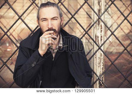 Bearded Man Smoking Cigarette, Portrait