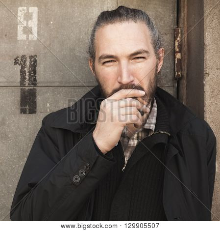 Bearded Man Smoking Cigar, Square Portrait