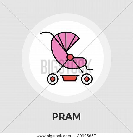 Pram icon vector. Flat icon isolated on the white background. Editable EPS file. Vector illustration.