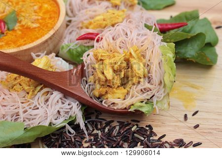 Thai curry with riceberry rice noodle is delicious