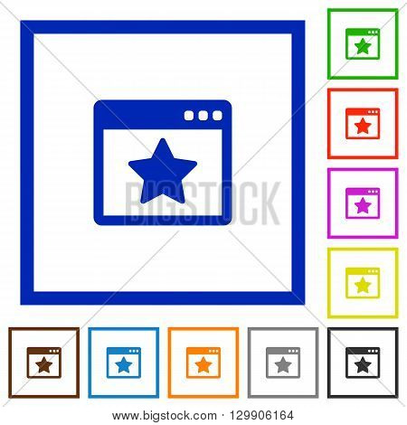 Set of color square framed Favorite application flat icons on white background