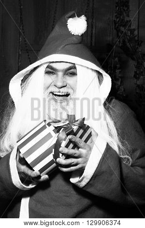 Happy Christmas Man With Gift