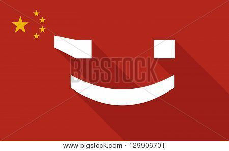 China Long Shadow Flag With   A Wink Text Face Emoticon