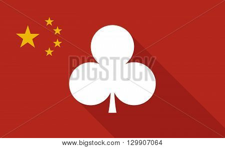 China Long Shadow Flag With   The  Club  Poker Playing Card Sign