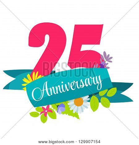 Cute Template 25 Years Anniversary Sign Vector Illustration EPS10