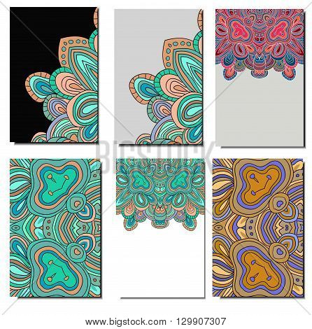 set of 6 colored cards. Can be used as flayers, invitations,  business card.