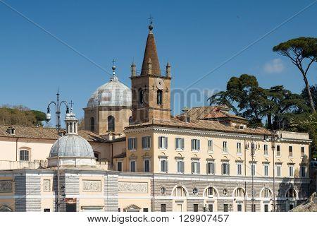 Facade of Santa Maria del Popolo Rome Italy