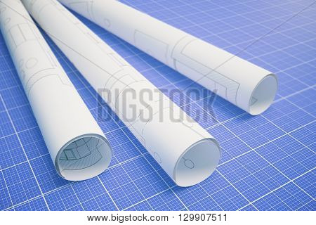 Paper rolls with architectural plan on blueprint pattern background. 3D Rendering